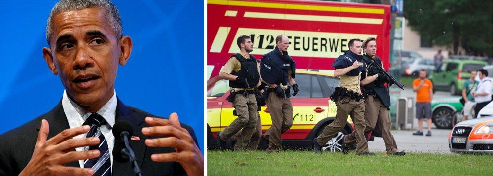 """Ao falar do ataque que deixou nove mortos em Munique, o presidente americano Barack Obama disse que hoje em dia asliberdades dos cidadãos dependem do trabalho dos agentes de segurança; """"Nosso modo de vida, nossas liberdades"""", disse ele, """"nossa capacidade de levar a vida de todos os dias, educando nossos filhos"""", e de repente o humor do presidente mudou; """"E vê-los crescer e se formarem no ensino médio e agora prestes a deixar seu pai"""", continuou; em seguida, ele se desculpou; assista"""