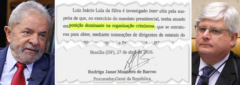 """Pedido de abertura de inquérito assinado pelo procurador-geral da República, Rodrigo Janot, e divulgado pelo portal Congresso em Foco aponta o ex-presidente como """"investigado"""" pela """"suspeita de que, no exercício do mandato, tenha atuado em posição dominante na organização criminosa"""" investigada na Operação Lava Jato; nesta segunda, o ministro Teori Zavascki, do STF, enviou o caso de Lula para o juiz Sérgio Moro"""
