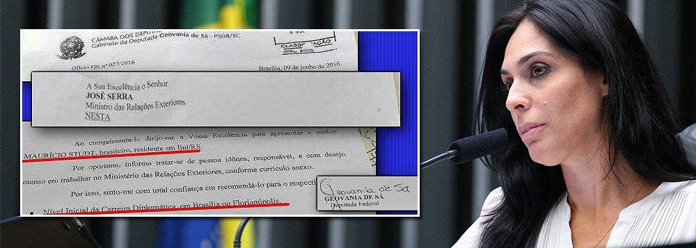 """Ofício GS 027/2016 do gabinete da deputadaGeovânia de Sáindica o senhor Maurício Studt, proprietário da Cacau Show Criciúma, para ocupar o nível inicial da carreira de diplomata; """"A senhora deputada além de, com o devido respeito, ser uma besta, por não saber que os cargos iniciais da carreira diplomática só são acessíveis por concurso e cursos mais que rigorosos, mostra o """"civismo"""" por trás do impeachment"""", diz Fernando Brito, do Tijolaço"""