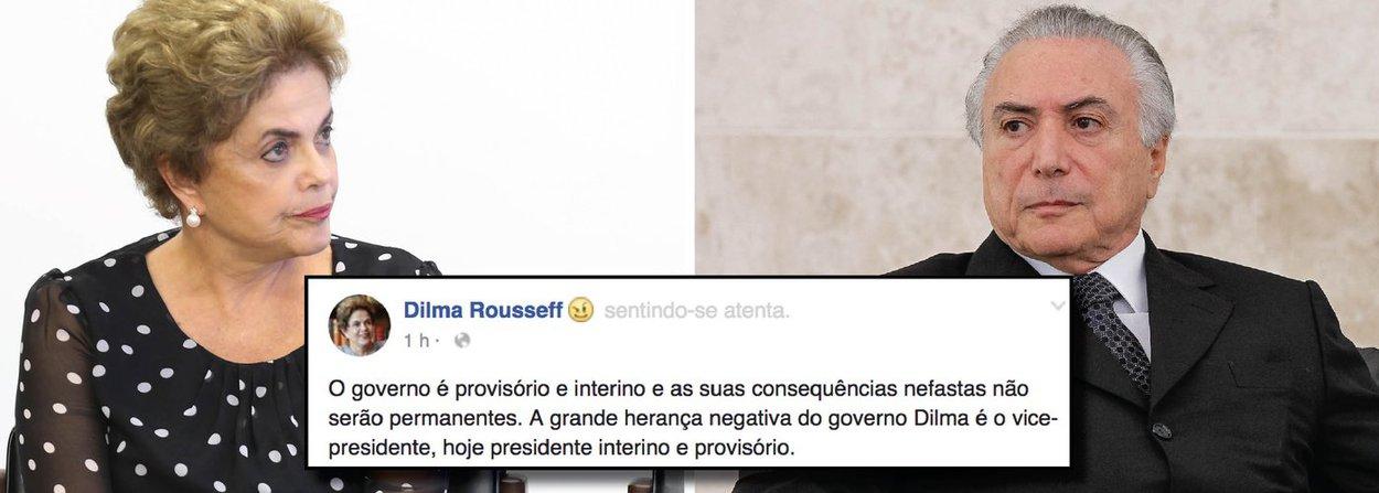 """Presidente eleita Dilma Rousseff rebate declaração feita pelo interino, Michel Temer, em entrevista nesta sexta-feira 24 à Rádio Estadão; """"Olha, eu realmente recebi uma herança um pouco mais complicada, digamos assim, do que aquela que eu imaginava"""", afirmou Michel Temer, chamando ainda de """"desconhecida"""" a herança recebida; em sua página no Facebook, Dilma respondeu: """"O governo é provisório e interino e as suas consequências nefastas não serão permanentes. A grande herança negativa do governo Dilma é o vice-presidente, hoje presidente interino e provisório""""; no governo Dilma, o PMDB de Temer tinha sete ministérios"""