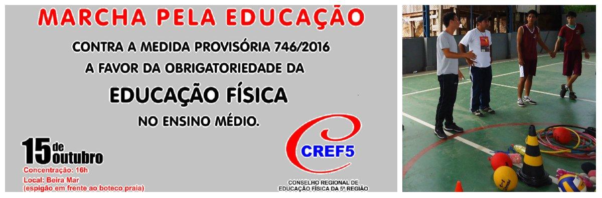 O Conselho Regional de Educação Física da 5a. Região (CREF5) está mobilizando os profissionais da área e a sociedade para um ato publico contra a retirada da obrigatoriedade da disciplina de Educação Física do ensino médio, no Brasil. O ato será realizado amanhã(15), Dia do Professor, a partir das 16 h, na avenida Beira Mar