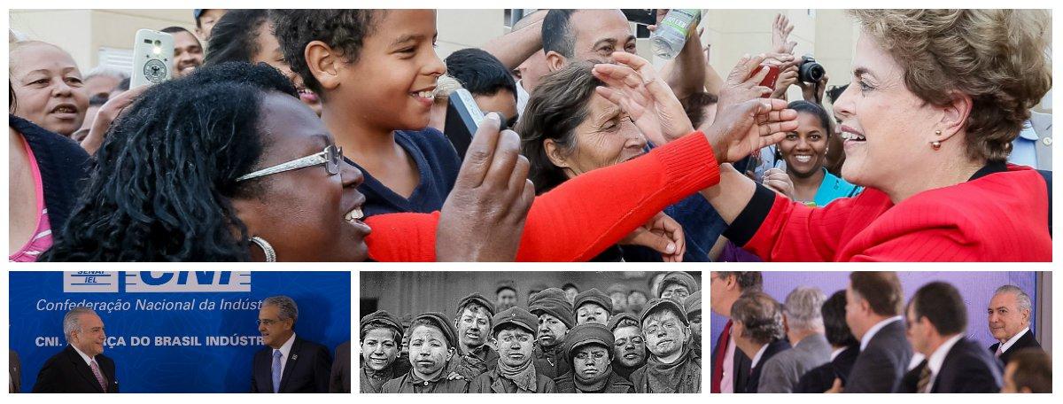 Enquanto a presidente eleita Dilma Rousseff mantém sua agenda de encontros com a população, como fez ontem num evento que discutiu moradia popular, o interino Michel Temer discute, a portas fechadas, a supressão de direitos trabalhistas, como na reunião com Robson Andrade, da Confederação Nacional da Indústria, que defendeu uma jornada de 80 horas semanais; proposta é tão esdrúxula que faria com que o Brasil retrocedesse a uma era pré-revolução industrial, quando até as crianças trabalhavam nas manufaturas inglesas
