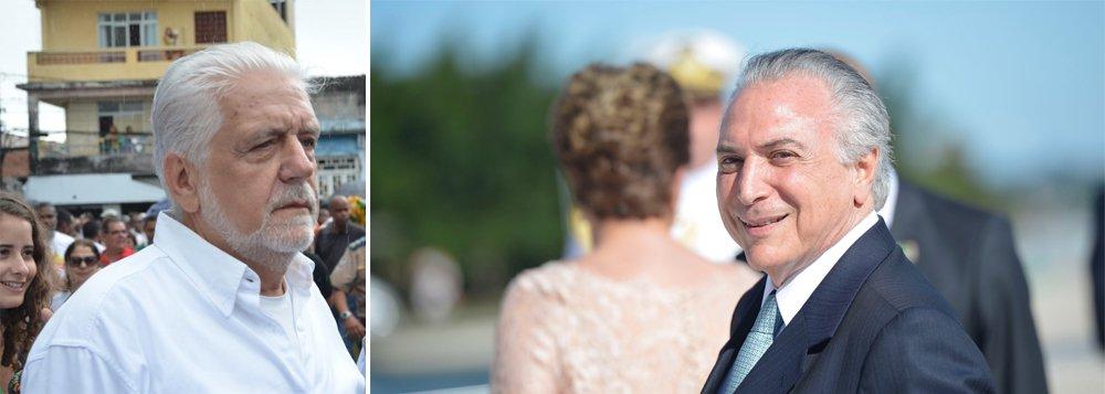 """Presente aos festejos do Dois de Julho (comemoração da independência da Bahia) neste sábado, o ex-ministro Jaques Wagner disse que """"a ruindade"""" do vice-presidente em exercício, Michel Temer, vai contribuir """"decisivamente"""" para que o Senado reprove em plenário o impeachment da presidente eleita Dilma Rousseff; """"O governo tem uma ilegitimidade de raiz. Ele não foi eleito para isso. Esse processo não é de impeachment. Na verdade, a cada dia que passa, fica mais ridículo. Havia, claro, uma dificuldade de articulação, mas impeachment não foi criado para isso""""; Wagner estima que Dilma terá """"28, 30 votos"""" para barrar o impeachment no Senado"""