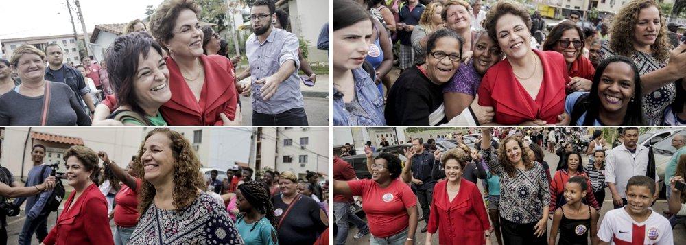 """A presidente afastada Dilma Rousseff mergulhou na campanha eleitoral de 2016, concentrando-se na disputa pela prefeitura do Rio de Janeiro; ao lado de Jandira Feghali, do PC do B, ela visitou o maior conjunto do Minha Casa, Minha Vida na zona oeste da cidade; nas redes sociais, Jandira, que está empatada em segundo lugar com o candidato Pedro Paulo, do PMDB, afirma que """"machistas, golpistas, traíras, não passarão!""""; nesta quarta-feira, Dilma fará um comício ao lado de Jandira, que foi uma de suas mais aguerridas defensoras durante o processo de impeachment"""