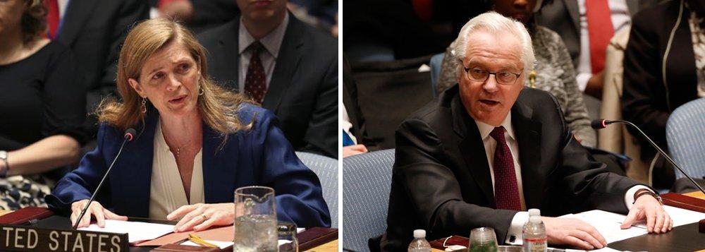 """Os embaixadores dos EUA e da Rússia nas Nações Unidas, Samantha Power e Vitaly Churkin, declaram """"estar fartos"""" um de outro no Conselho de Segurança; na noite de ontem, a Rússia convocou uma reunião do conselho, depois que os Estados Unidos violaram o acordo de cessar-fogo e dispararam contra o Exército sírio, num ataque que foi interpretado como uma ajuda ao Estado Islâmico"""