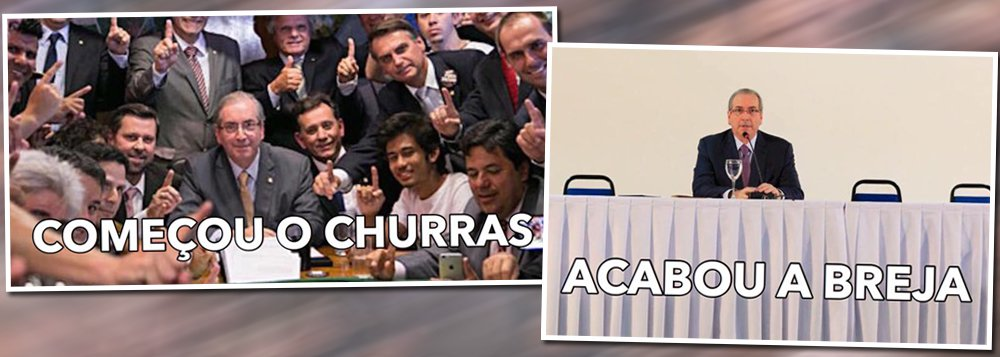 Meme que circula nas redes sociais ilustra bem a influência e o apoio que tinha Eduardo Cunha em maio de 2015, quando foi tirada a primeira foto, em que o presidente da Câmara em atividade estava rodeado de integrantes de movimentos pró-impeachment e da oposição, e a diferença desse cenário nesta terça-feira 21; Cunha hoje está afastado da presidência da Câmra, é réu na Lava Jato, assim como sua mulher, está prestes a ter o mandato cassado e corre o risco de ser preso a qualquer momento; na coletiva de hoje, apareceu sozinho em uma mesa enorme, sem um aliado