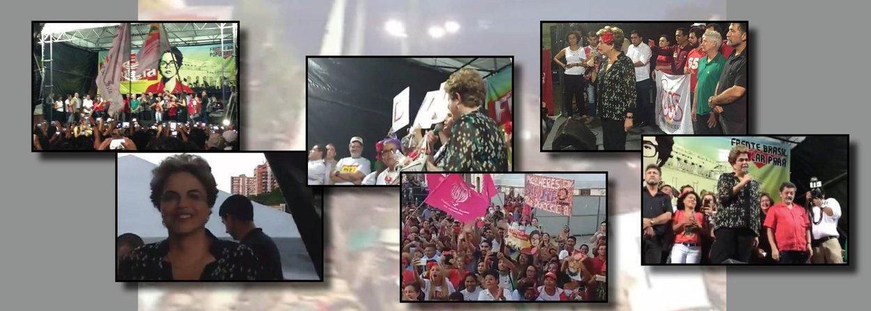 """A presidente eleita Dilma Rousseff afirmou nesta quinta-feira (30), no ato """"Pará pela democracia"""", que ocorreu em Belém, que retornará ao seu cargo """"para reconstruir o país""""; """"Eu quero dizer que nós vamos reconstruir a unidade entre nós, defender a democracia, vamos devolver os direitos que foram retirados, vamos fazer a economia crescer, vamos acabar com esta tática do 'quanto pior, melhor', que eles implantaram para criar as condições para o golpe"""", afirmou ela sendo ovacionada por milhares de pessoas; ela disse ainda que ficou triste com o afastamento, mas que a luta da população a deixa feliz: """"Uma parte minha está alegre, a parte que tem o apoio de vocês, a parte que vê a luta de vocês. Vamos nos manter mobilizados e atentos"""", afirmou"""
