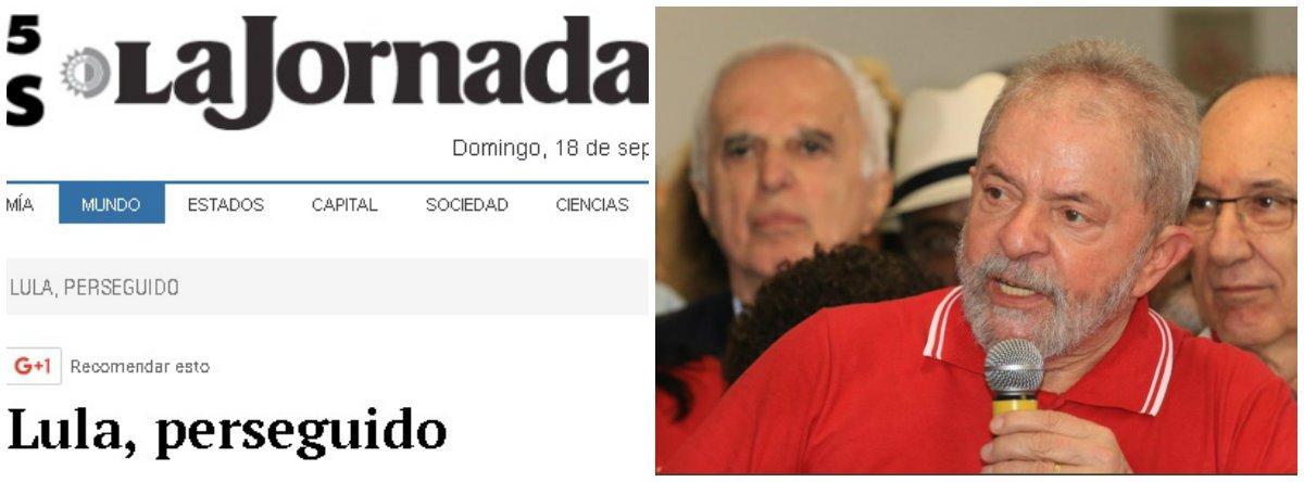 """Em editorial intitulado """"Lula, perseguido"""", o jornal mexicano La Jornada afirma que """"não se deve ignorar o fato de que dirigentes históricos do PT, e particularmente o ex-mandatário agora acusado, são o objetivo prioritário dos promotores"""" do MPF; segundo o texto, a denúncia contra Lula seria """"a reação de uma oligarquia que mal tolerou conjunturalmente o exercício da presidência por parte de um líder sindicalista metalúrgico e uma lutadora social que militou em um grupo guerrilheiro contra a ditadura militar nos Anos 60 do século passado"""""""