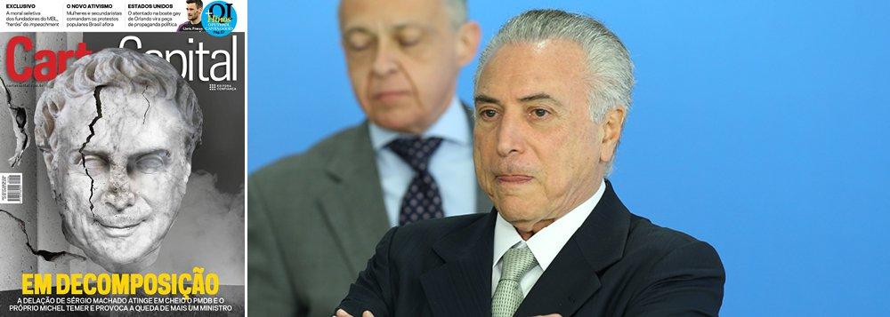 """Reportagem de capa da revista diz que """"o PMDB e o governo interino afundam, empurrados pela delação de Sérgio Machado e o fim de Eduardo Cunha"""""""