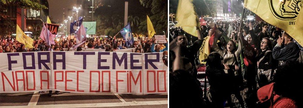 A frente de movimentos sociais Povo Sem Medo protestou, na noite desta terça, contra a aprovação da PEC 241, que limita os gastos públicos por 20 anos; a manifestação começou por volta das 19h no vão-livre do Masp, na Avenida Paulista, e seguiu até o escritório da Presidência da República, na mesma avenida, onde foi encerrada por volta das 20h10