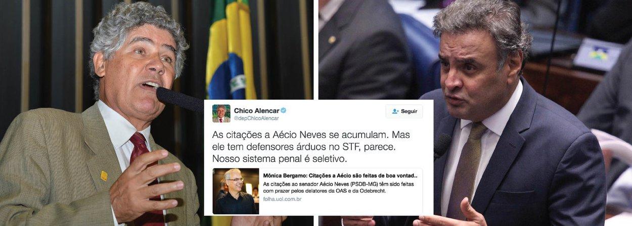 """Deputado Chico Alencar (PSOL-SP) comentou nesta quarta-feira, 6, a informação de que o senador Aécio Neves (MG), presidente nacional do PSDB, está sendo """"delatado com prazer"""" por dirigentes da OAS e da Odebrecht; """"As citações a Aécio Neves se acumulam. Mas ele tem defensores árduos no STF, parece. Nosso sistema penal é seletivo"""", criticou Alencar"""