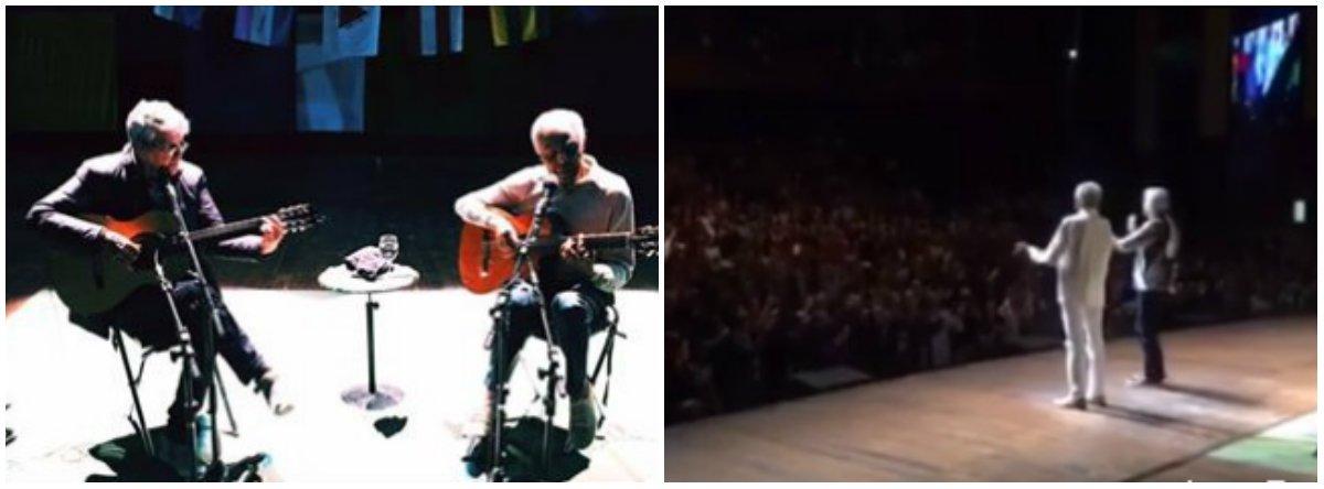 """O público que lotou o show de Gilberto Gil e Caetano Veloso no Citibank Hall, em São Paulo, resolveu completar o refrão da música """"Odeio Você"""", de Caetano, para protestar contra Michel Temer; cada vez que os dois músicos cantavam """"Odeio você"""",em seguida parte da plateia gritava: """"Temer!""""; não é a primeira vez que o público dos dois artistas se manifesta contra o peemedebista em um show deles"""