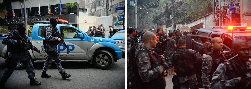 Um intenso tiroteio na comunidade Pavão-Pavãozinho, em Copacabana, que se estendeu desde a manhã até o final da tarde desta segunda-feira 10, deixou três suspeitos de tráfico mortos e três policiais militares feridos, incluindo o comandante da Unidade de Polícia Pacificadora (UPP) local, capitão Vinícius de Oliveira; foram presos oito homens, também suspeitos de ligações com o tráfico no local