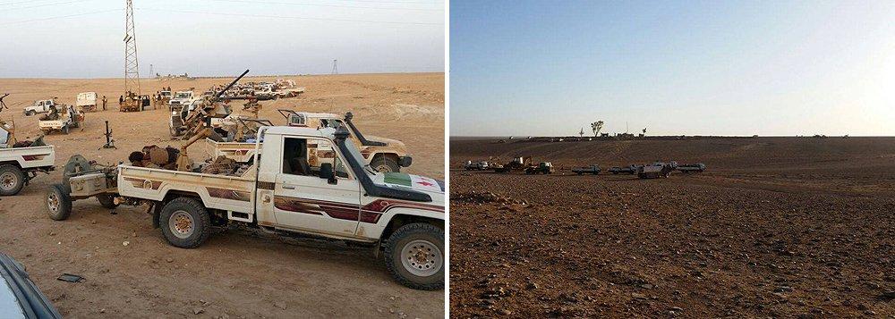 Grupos de militantes da oposição síria apoiada pelos Estados Unidos conseguiram reconquistar o aeroporto militar Abu Kamal que estava sob controle do Estado Islâmico; base aérea fica na província de Deir ez-Zor, perto da fronteira com Iraque;os confrontos na cidade de Abu Kamal continuam sendo registrados