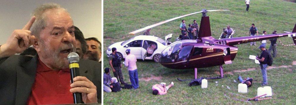 """No pronunciamento em que rebateu a denúncia do Ministério Público, o ex-presidente Lula ironizou o órgão ao dizer que """"eles tinham provas de um helicóptero com 400kg de cocaína, mas não tinham convicção, então liberaram""""; a denúncia de 2013 envolveu o nome do senador Aécio Neves (PSDB-MG); a declaração de Lula foi uma referência às afirmações dos procuradores que admitiram não ter """"provas cabais"""" contra Lula, mas """"convicção"""" de que ele era o comandante do esquema"""