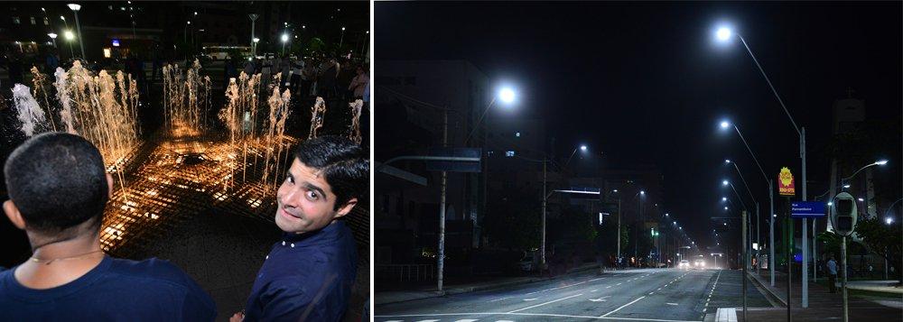 O prefeito ACM Neto inaugurou na noite desta quarta-feira (15) a iluminação de LED da Avenida Manoel Dias da Silva, na Pituba, em cerimônia realizada na Praça Nossa Senhora da Luz. Com investimento de R$ 600 mil, as antigas 170 luminárias de 400w de vapor de sódio foram substituídas por outras de 180w, de LED, que, segundo a prefeitura, 'têm alta eficiência e proporcionam maior economia'; a Praça Nossa Senhora da Luz também foi entregue recuperada, com a fonte luminosa musical do espaço colocada em funcionamento