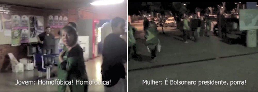 """Um grupo de cerca de 15 pessoas entrou na Universidade de Brasília na noite desta sexta-feira 17 com camisetas que traziam frases como """"Fora PT"""" e """"Bolsonaro presidente"""" e gritou frases como: """"aqui é lugar de estudar e não de fumar maconha"""", """"vocês são comunistas safados"""", """"acabou a mamata""""; eles também chamaram os estudantes que estavam no local de """"viados"""", """"vagabundos"""", """"comunistas nojentos"""" e """"gay parasita"""" e soltaram duas bombas; assista ao vídeo divulgado pelo Mídia Ninja"""