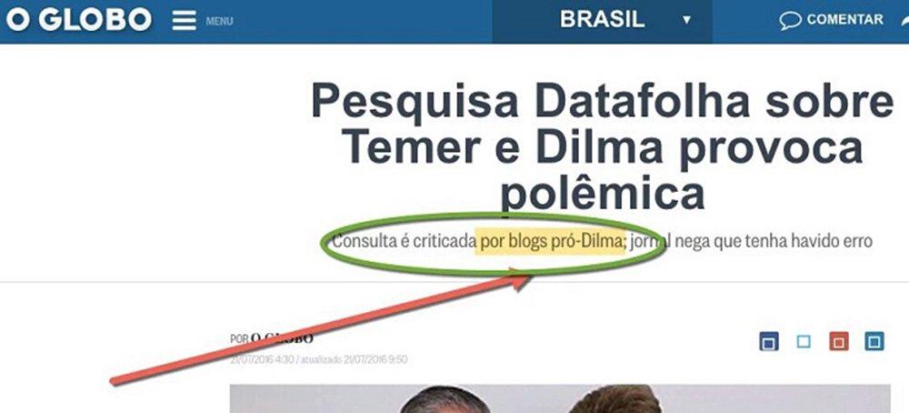 Jornalista Miguel do Rosário, do blog O Cafezinho, critica a postura do jornal da Família Marinho, que afirmou que fraude da Folha de esconder números de sua própria pesquisa e divulgar uma interpretação diametralmente oposta ao realmente apurado é coisa de blogueiros pró-Dilma; ele cita exemplos de jornalistas internacionais, como Glenn Greenwald, ganhador do Pullitzer,e Alex Cuadros, autor de um best-seller sobre o Brasil; que criticaram a fraude