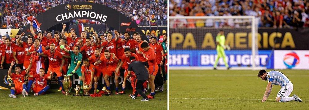 """Chile sagrou-se bicampeão da Copa América ao vencer a Argentina nos pênaltis (4-2) na final da edição do Centenário, neste domingo, em Nova Jersey, repetindo o roteiro do ano passado, quando conquistou seu primeiro título continental em casa; a frustração foi ainda maior para o craque Lionel Messi, que isolou sua cobrança na disputa de pênaltis e falhou mais uma vez na tentativa de acabar com o incômodo jejum de 23 anos da 'alviceleste'; depois do vexame, o craque anunciou que não joga mais pela Argentina: """"Já deu, a seleção argentina acabou para mim"""""""