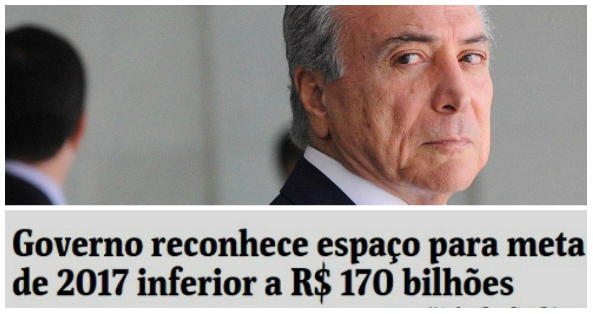 """""""Tudo o que era criticado por estar acontecendo a contragosto no governo Dilma é, agora, aceito por estar sendo feito 'a gosto"""" no Governo Temer. A """"responsabilidade fiscal"""", como se vê, é de natureza contábil. Estando no Orçamento, o prejuízo é legal. Nos dois sentidos"""", critica Fernando Brito, do Tijolaço, em referênciaa estimativa governo interino de déficit em 2017 que pode encostar em R$ 170 bilhões se não houver aumento de impostos"""