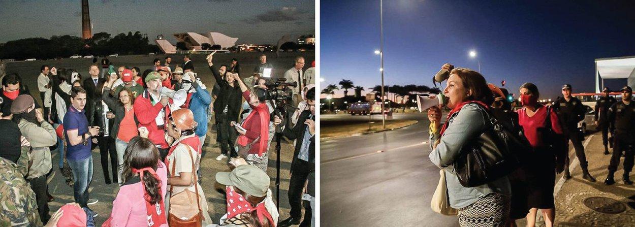 Um grupo de cerca de 70 pessoas protesta na noite desta segunda (4) em frente ao Palácio do Planalto contra o presidente interino, Michel Temer; com faixas e palavras de ordem pedindo a saída de Temer do governo, os manifestantes se reúnem na Praça dos Três Poderes, em frente à sede do Executivo