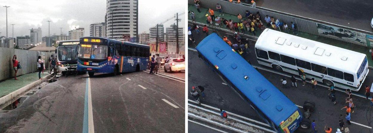 """Um ônibus do transporte coletivo de Aracaju, que fazia linha """"João Alves"""", teve um problema mecânico no final da tarde desta sexta (1º), que causou grande susto aos passageiros, além de muito transtorno e engarrafamento no trânsito da avenida Beira Mar; o veículo soltou o eixo traseiro, o que provocou a queda da carcaça do veículo na via"""