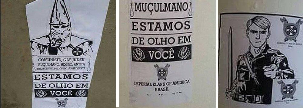 """Em meio à """"ameaça terrorista"""" nos Jogos da Rio 2016, o blog Descolonizações lembrou que em setembro de 2015, foram divulgadas fotos de cartazes do grupo neonazista Imperial Klans of America - Brasil, que foram espalhados por Niterói; os cartazes espalhados por postes e muros ameaçavam homossexuais, muçulmanos, judeus, comunistas, negros, anarquistas e antifas; """"Até o presente momento, nenhuma megaoperação da Polícia Federal quebrou sigilo telefônico ou eletrônico, nenhuma prisão foi efetuada e nenhum presidente ou secretario de segurança pública de governo eleito ou interino demonstrou preocupação"""""""