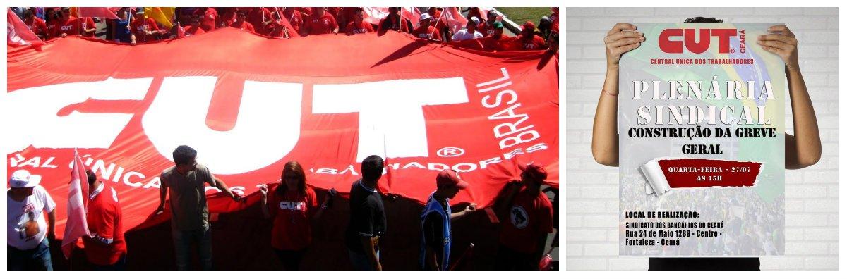 A Central Única dos Trabalhadores no Ceará está convocando uma plenária dos sindicatos filiados a central para iniciar o processo de discussão da construção de uma greve geral, seguindo deliberação da executiva nacional da CUT. A plenária está marcada para quarta-feira (27), a partir das 15 horas, no Sindicato dos Bancários