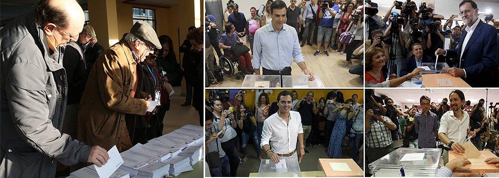 Com um Congresso dissolvido por não haver consenso para um governo de coalizão, a Espanha realizada neste domingo, 26, eleições para escolha de 350 representantes do Congresso dos Deputados e 208 do Senado; segundo a Agência Lusa, o Partido Popular, de direita, do atual chefe de governo, Mariano Rajoy, deverá ser o mais votado, conquistando 30% dos votos; grande surpresa deverá ser o Unidos Podemos, aliança de radicais de esquerda, comunistas, ecologistas, pode receber 26% dos votos e ultrapassar o PSOE (Partido Socialista Operário Espanhol), que nos últimos 35 anos alternou à frente do governo espanhol com o PP