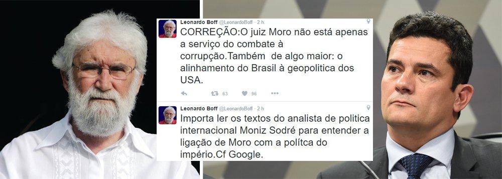 """Em seu perfil no Twitter, o teólogo e escritor Leonardo Boff disse neste sábado que o juiz federal de Curitiba Sérgio Moro, responsável pelas investigações da Operação Lava Jato, serve aos interesses dos Estados Unidos sobre o Brasil;""""O juiz Moro não está apenas a serviço do combate à corrupção. Também de algo maior: o alinhamento do Brasil à geopolítica dos USA"""", escreveu Boff"""
