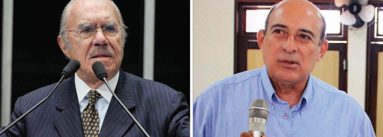 """Após pedido de um aliado, o ex-presidente José Sarney (PMDB-AP) prometeu fazer um """"aceno"""" pelo prefeito de Santa Inês (MA), Ribamar Alves (à dir.), que foi preso em flagrante, em janeiro, pelo crime de estupro de uma jovem de 18 anos; Alves ficou quase um mês no Presídio de Pedrinhas (MA); o diálogo foi gravado pelo ex-presidente da Transpetro Sérgio Machado, delator da Lava Jato; no áudio, oex-deputado Chiquinho Escórcio (PMDB-MA) fala para Sarney: """"Ribamar Alves está preso. Mandou (…) lhe procurar""""; após o ex-parlamentar perguntar se o ex-presidente conversaria com Franklin Seba, presidente da Câmara Municipal de Santa Inês e aliado do prefeito que tinha sido preso, Sarney responde: """"posso fazer aceno… Uma hora que você vier aí, você vem com ele"""""""