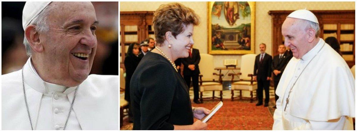 Bendita por Francisco; o golpe contra Dilma Rousseff não caiu nas graças do Papa, uma desconformidade que, nos últimos meses, ele vem insinuando através de uma série de gestos discretos, pontifícios; possivelmente, o mais eloquente tenha sido a correspondência que enviou à presidenta que está a ponto de ser destituída; acorrespondência do Papa demonstra sua possível desconformidade com um processo anômalo contra uma presidenta legítima, mas também merece ser avaliada por suas implicâncias diplomáticas, numa região onde prevalece o catolicismo, sitiado pelo evangelismo neoconservador, que tem entre seus representantes Eduardo Cunha (PMDB-RJ), sócio de Michel Temer de longa data; análise deDarío Pignotti, na Carta Maior