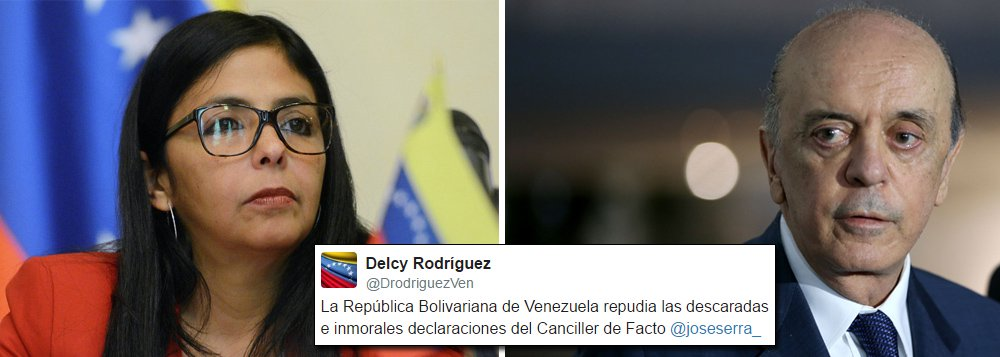 """Delcy Rodriguez, a chanceler da Venezuela, manifestou nesta terça (13) repúdio a """"declarações descaradas e imorais"""" de José Serra sobre o país; o chanceler brasileiro afirmou na segunda (12) que considera """"sem esperança"""" a melhoria da relação entre o governo brasileiro liderado por Michel Temer e a Venezuela; por meio do Twitter, a ministra venezuelana afirmou que o """"governo de fato do Brasil, produto de um golpe parlamentar, violentou a ordem democrática desta nação irmã sul-americana"""""""