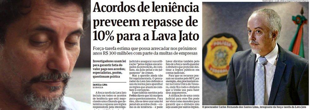 """Jornalista Fernando Brito, do Tijolaço, condena a insidiosa tentativa da Força Tarefa da Lava Jato de ficar com 10% dos acordos de leniência firmados no âmbito da operação; os 10% valem para os grandes acordos; para os menores é de 20%; """"Será possível que não escandalize ninguém que um grupo de promotores tenha nas mãos uma fortuna destas para """"distribuir"""" a unidades policiais – e a quem mais, empresas, ongs, o que seja? – a seu exclusivo critério?"""", questiona o blogueiro"""