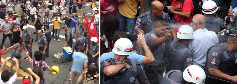 Ação truculenta da Polícia Militar contra uma mulher que vendia água durante manifestação contra Temer em São Paulo gerou revolta das pessoas que estavam no local neste domingo; um grupo que estava no local tentou defender a ambulante e até empurrar os policiais, mas levava spray de pimenta no rosto a cada investida; um deles foi o ex-senador Eduardo Suplicy; a mulher estava deitada no chão e os agentes levaram sua caixa com água; assista