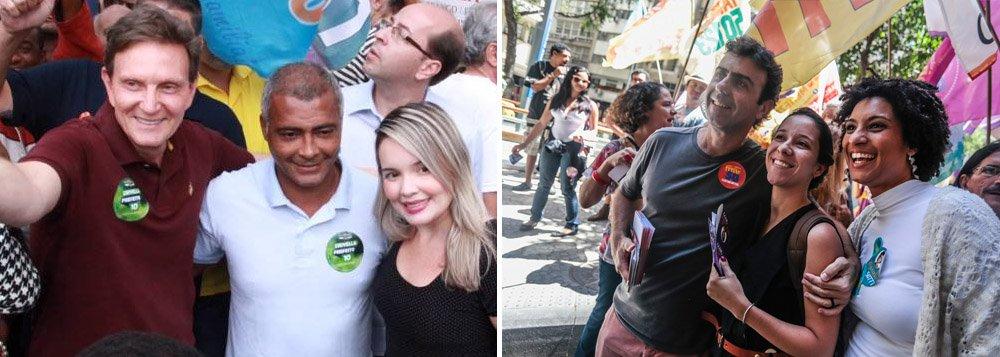 Os dados são do Instituto Veritá; o candidato a prefeito do Rio de Janeiro pelo PRB, Marcelo Crivella, com 45,3% das intenções de voto na corrida eleitoral para o segundo turno; o seu adversário, Marcelo Freixo (Psol), aparece com 35,6%; no primeiro turno da eleição municipal,Crivella teve 27,78% dos votos válidos, contra18,26% de Freixo