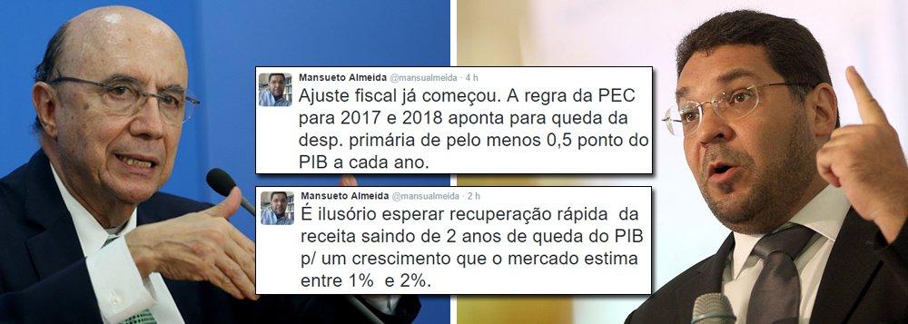 """No momento em que a equipe do ministro Henrique Meirelles vem sendo questionada por propor um déficit gigantesco, ao mesmo tempo em que promete ajuste fiscal, o secretário de Acompanhamento Econômico da Fazenda, Mansueto Almeida, usa o Twitter para preparar os ânimos do mercado para um rombo ao redor de R$ 160 bilhões em 2017; """"É ilusório esperar recuperação rápida da receita saindo de 2 anos de queda do PIB p/ um crescimento que o mercado estima entre 1% e 2%"""", postou; segundo ele, o ajuste fiscal """"já começou"""" com a PEC que limita os gastos públicos; a manifestação é uma resposta aos críticos da política fiscal do governo interino de Michel Temer"""