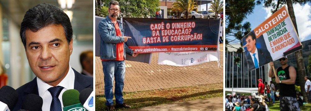 """As prisões determinadas pelo governador do Paraná, Beto Richa (PSDB), ocorreram durante evento de transferência um terreno para a construção do Hospital da Zona Oeste de Londrina; o governo do tucano é investigado por desvios de R$ 900 milhões na Receita Estadual, desvendado pela Operação Publicano, e de R$ 30 milhões que seriam destinados à educação, esquema desmantelado pela Operação Quadro Negro; dois dos manifestantes foram presos porque chamavam Richa de """"mentiroso"""" e """"covarde"""", — em referência ao massacre de 213 pessoas, em abril de 2015, no Centro Cívico de Curitiba"""