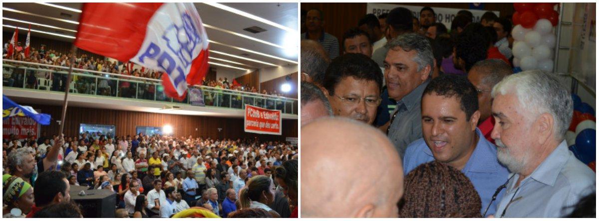 Com o auditório lotado na Assembléia Legislativa do Maranhão, o prefeito Edivaldo Holanda Júnior lançou sua pré-candidatura a prefeito de São Luís na última sexta-feira 17; o prefeito (camisa azul ao centro) foi prestigiado por lideranças de 13 partidos políticos que vão apoiá-lo na disputa; segundo a pesquisa Exata/TV Guará, os pré-candidatos Edivaldo e Eliziane Gama (PPS) estão milimetricamente empatados com 23% da preferência do eleitorado; na espontânea, Edivaldo aparece em primeiro com 13%, enquanto Eliziane tem apenas 8%