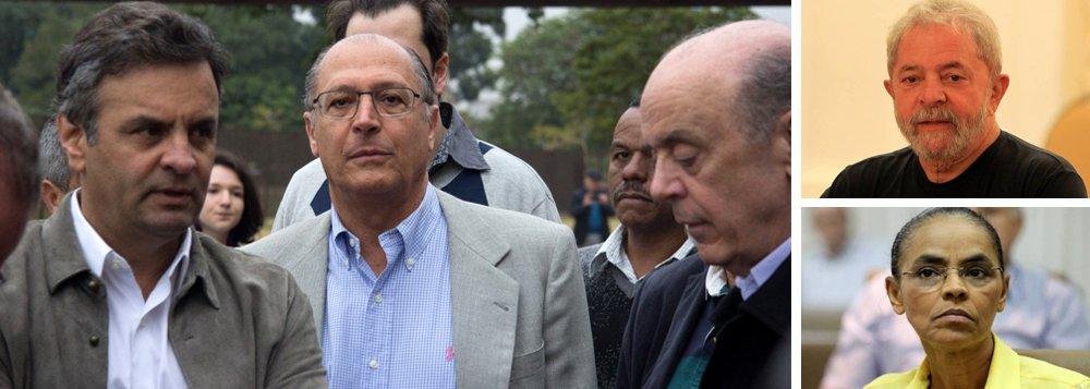 Com três potenciais candidatos brigando entre si, que são Aécio Neves, Geraldo Alckmin e José Serra, o PSDB planeja voltar à presidência da República, em 2018, sem adversários; esse projeto avançou na semana passada com o recebimento da denúncia contra o ex-presidente Luiz Inácio Lula da Silva, que, se condenado em segunda instância, se tornaria ficha-suja; além disso, o senador Aécio Neves quer pressa total na reforma política que mata partidos menores, como a Rede, de Marina Silva; ou seja: o sonho de consumo do PSDB, que perdeu as últimas quatro eleições presidenciais, é entrar sozinho na avenida