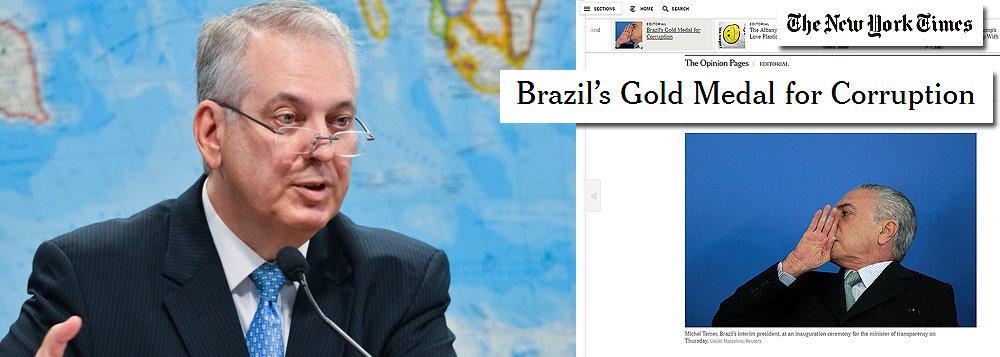 """Em resposta a um editorial de 6 de junho em que o The New York Times disse que o Brasil é """"medalha de ouro"""" entre os países que permitem corrupção na política, o embaixador brasileiro nos EUA, Luiz Alberto Figueiredo Machado, publicou um texto nesta quinta-feira em que afirma que as instituições brasileiras têm amplo apoio """"de uma sociedade que não tolera nem a corrupção nem a complacência diante dela"""" e que """"não há mais espaço no Brasil para aqueles que são amigos de poderosos. A lei é para todos – incluindo presidentes e ex-presidentes""""; ele também saúda o presidente interino Michel Temer, acusado de corrupção pelo delator Sérgio Machado"""