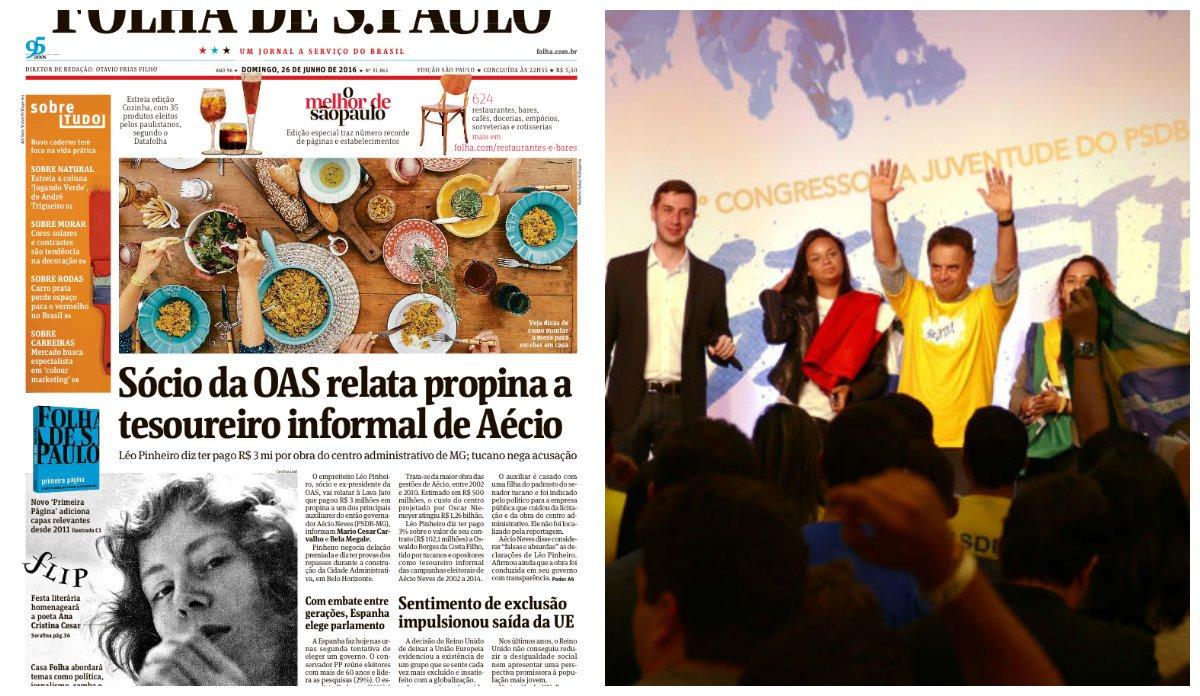 """Citado por vários delatores da Lava Jato, o senador Aécio Neves (PSDB-MG) fez um discurso em que pregou o resgate da ética no encontro da Juventude Nacional do PSDB;""""Nessa hora de tanta desmoralização que estamos assistindo no Brasil, só tem uma razão que justifica a gente fazer política: é acreditar. Não dá para você ficar na política ou para querer um cargo, querer uma posição, querer um benefício, qualquer que seja"""", diz ele; na mais recente delação, ele foi acusado de cobrar propina de 3% nas obras da Cidade Administrativa"""