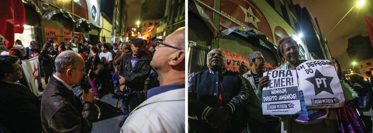 """O Diretório Nacional do PT, em São Paulo, que ontem foi atacado duas vezes, foi palco, nesta sexta (1º), de um ato de solidariedade de petistas, entidades de esquerda e ativistas, que discursaram em favor da democracia e contra o ódio e deram um abraço simbólico no edifício localizado no centro da capital paulista; o presidente nacional do PT, Rui Falcão, exaltou a militância petista; """"São em momentos como esse que vemos como o PT é forte. Como existe unidade entre nós; não apenas em defesa de um partido ou de uma sede. É em defesa de uma causa"""", disse; """"A resistência e a solidariedade que vocês nos trazem têm um significado elevadíssimo. Militante do PT não abaixa a cabeça!"""", completou"""