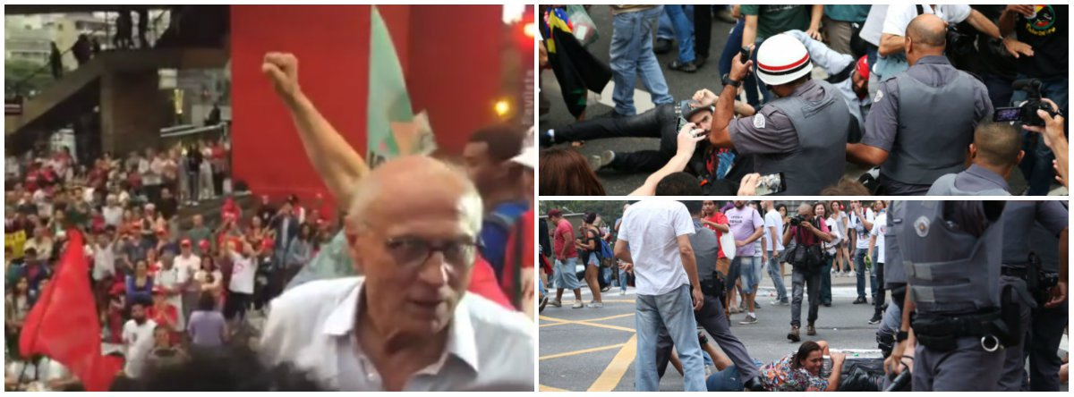 """A PM do governador Geraldo Alckmin deu mais um show de truculência neste domingo, durante mais um protesto que pede o Fora Temer e novas eleições; atingido por spray de pimenta, o ex-senador Eduardo Suplicy (PT) relatou que foi ameaçado de ser """"surrado com cassetete"""" pelos agentes; ele disse que escreverá uma carta ao governador, responsável pelo comando da Polícia Militar, que partiu para cima de manifestantes e de fotógrafos da imprensa; veja o vídeo com o discurso do ex-senador"""