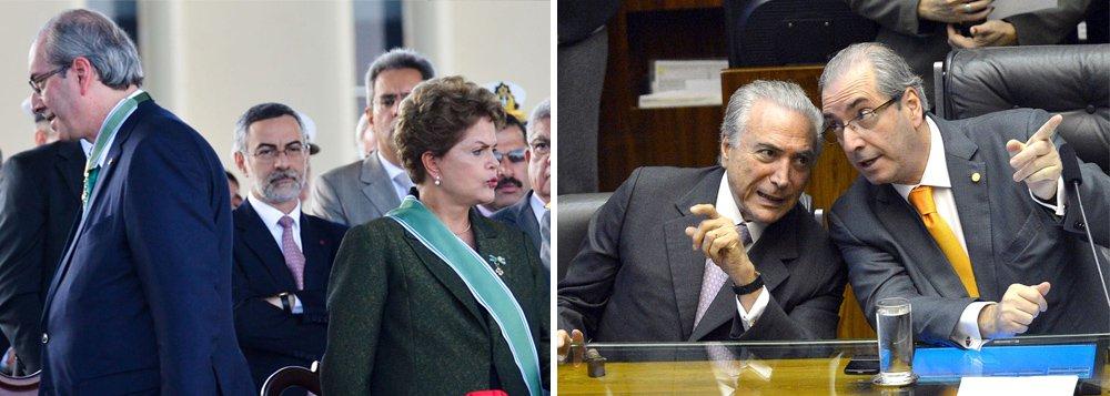 """A ameaça é relatada na coluna Radar deste fim de semanal; ou seja, depois de afastar a presidente Dilma Rousseff com seu impeachment sem crime de responsabilidade (o golpe parlamentar de 17 de abril), Eduardo Cunha estaria se preparando para detonar também o interino Michel Temer; reportagem da revista Carta Capital deste fim de semana também informa que ele teria grampeado Michel Temer sobre """"velhas parcerias"""" no setor portuário, enquanto uma coluna da Folha sugere que ele faça delação premiada; perto de ter seu mandato cassado, Cunha inspira rumores sobre ameaças contra o aliado Michel Temer"""