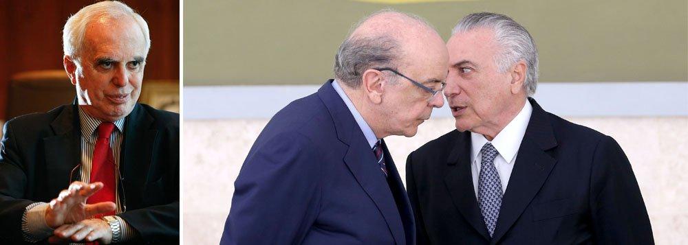 """Na opinião do embaixador Samuel Pinheiro Guimarães, que foi secretário-geral do Itamaraty nos governos do ex-presidente Lula, ao defender acordos bilaterais com vários países da Europa, além dos Estados Unidos, em detrimento de blocos regionais como o Mercosul, o ministro interino de Relações Exteriores José Serra adota postura """"antinacional""""; """"Você acha que ele quer ter livre comércio com a Suíça? O que eles querem é um esquema de livre comércio com os Estados Unidos. E com a Europa. É uma questão ideológica"""", afirma Guimarães à RBA; """"Os caras não estão nem aí, porque eles vão fazer negócios. Eles fazem negócios"""""""