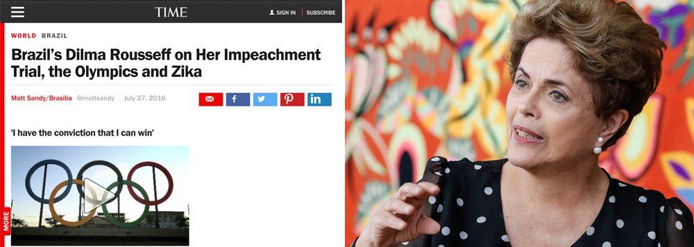 """A presidente Dilma Rousseff volta a denunciar o """"golpe parlamentar"""" no Brasil e ressalta que convocará um plebiscito para a reforma política se voltar ao poder, em entrevista à revista Time; ela diz estar convicta de que poderá reverter seu processo de impeachment: """"Estou convicta de que posso vencer""""; sobre a cerimônia de abertura da Olimpíada, diz ser """"presidenta eleita por 54 milhões e meio de votos. Eu não vou ficar nos Jogos Olímpicos numa situação extremamente injusta, porque fui eu que fiz os Jogos Olímpicos, no meu governo""""; para ela, o evento não foi um erro para o Brasil, que está preparado para receber os atletas e os turistas; assista alguns trechos"""