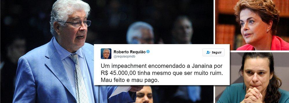 """Senador Roberto Requião (PMDB) detona o pedido de impeachment contra Dilma Rousseff feito pela advogada Janaina Paschoal: """"Um impeachment encomendado a Janaina por R$ 45 mil tinha mesmo que ser muito ruim. Mal feito e mal pago"""", postou ele no Twitter; a jurista admitiu ter recebido a soma do PSDB para, junto com Miguel Reale Júnior, elaborar um parecer sobre o afastamento da presidente; um laudo assinado por três técnicos do Senado e entregue nesta segunda-feira à comissão do impeachment, a pedido da defesa da presidente, rebate denúncia de que ela praticou """"pedalada fiscal""""; """"É preciso entender que não se trata de questão jurídica, mas de rejeição econômica, política e pessoal. Simples assim!"""", acrescentou Requião"""
