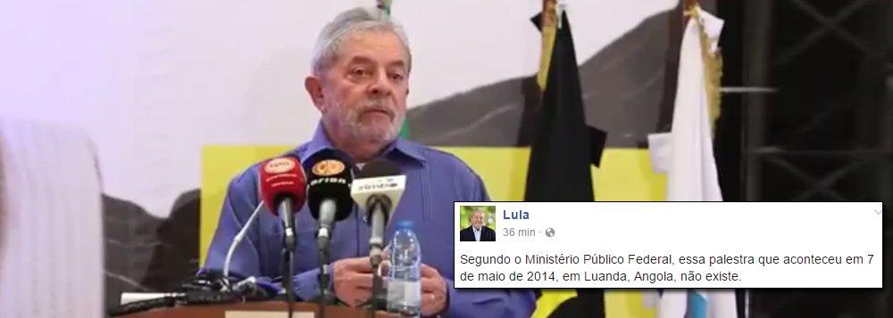 """""""Segundo o Ministério Público Federal, essa palestra que aconteceu em 7 de maio de 2014, em Luanda, Angola, não existe"""", diz post na página do ex-presidente no Facebook, acompanhado de um vídeo de 10 minutos com trecho da palestra e o áudio da íntegra da fala de Lula; segundo a acusação do Ministério Público Federal, Lula teria favorecido a Odebrecht com empréstimos no BNDES em troca da contratação da empresa de seu sobrinho em Angola e de palestras suas no país africano; segundo a defesa do ex-presidente, a acusação é """"absurda"""", primeiro, porque """"as decisões do BNDES são colegiadas"""", e Lula não participava delas; além disso, """"se Lula não é funcionário público desde 2011 não pode lhe ser imputado o crime de corrupção ou tráfico de influência"""", afirmam os advogados"""