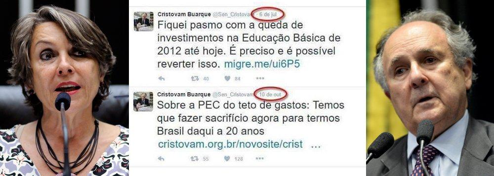 """Deputada distrital Erika Kokay (PT) criticou nessa quinta-feira, 13, o senador Cristovam Buarque (PPS-DF), pela mudança de opinião em relação aos investimentos do governo federal na Educação; em julho, Cristovam defendeu o aumento de investimentos na Educação Básica no país; três meses depois, em defesa da PEC 241, escreveu:""""temos que fazer sacrifício agora para termos Brasil daqui a 20 anos""""; """"Isso é o que acontece quando se apoia um golpe, Senador!"""", criticou Erika Kokay"""